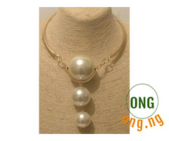 Big Statement Gold Faux Pearl Necklace