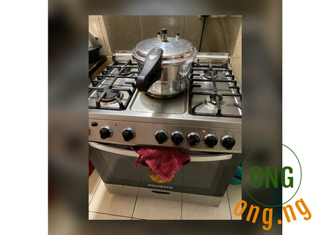 Neatly used polyester 5 burner gas cooker with cylinder