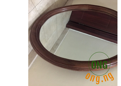 Oval Wooden Frame Mirror