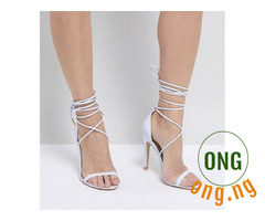 Lace up strappy heel sandals