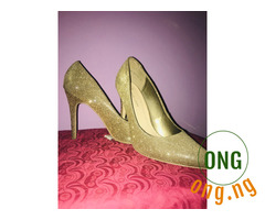 New Look gold glitter heels